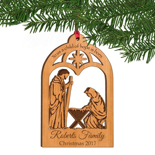 A Child of Hope is Born Personalized Wood Christmas Ornament