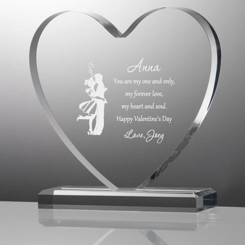 Couple Kissing Valentine Personalized Heart Acrylic Plaque