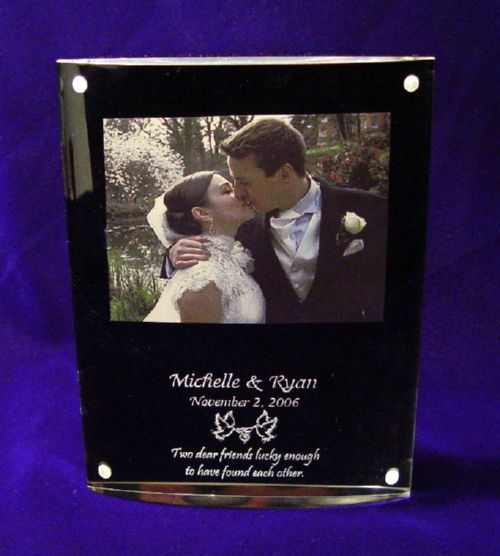 Elegant Wedding Day Gift Plaque with Photo Frame