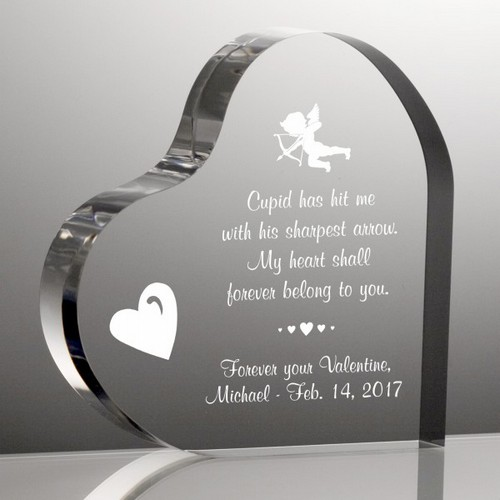 Valentines Day Cupid Heart Shaped Keepsake Plaque