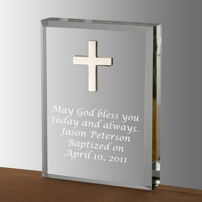 Silver Cross Acrylic Keepsake