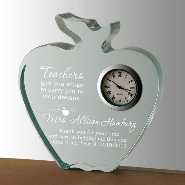 da0a9c27d2c00 Inspirational Teachers Apple Clock Keepsake