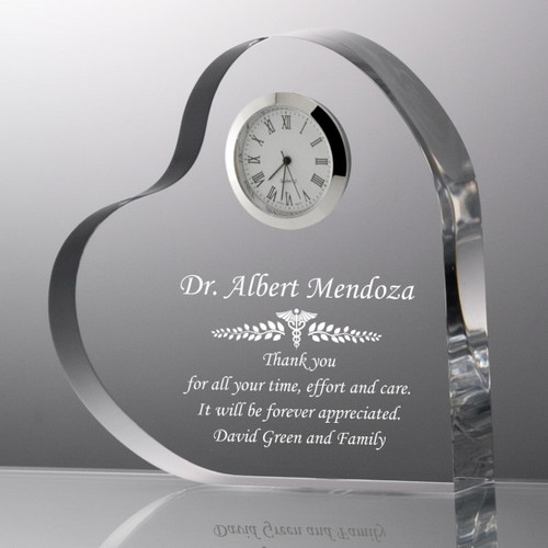 Personalized Medical Keepsake Clock Heart Plaque