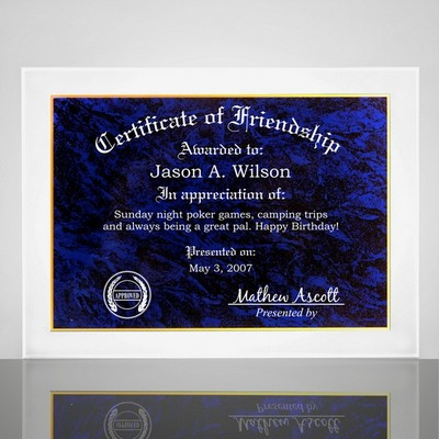Certificate of Friendship Plaque with Blue Marble Finish