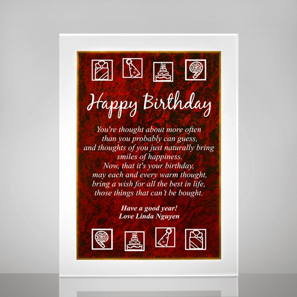 Birthday Plaque With Red Marble Finish Personalized 75th Poem Frame For Mom