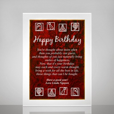 Birthday Plaque with Red Marble Finish