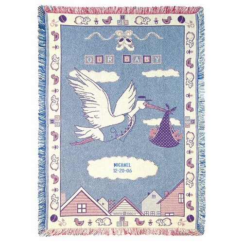 New Baby Stork 2 Ply Cotton Afghan