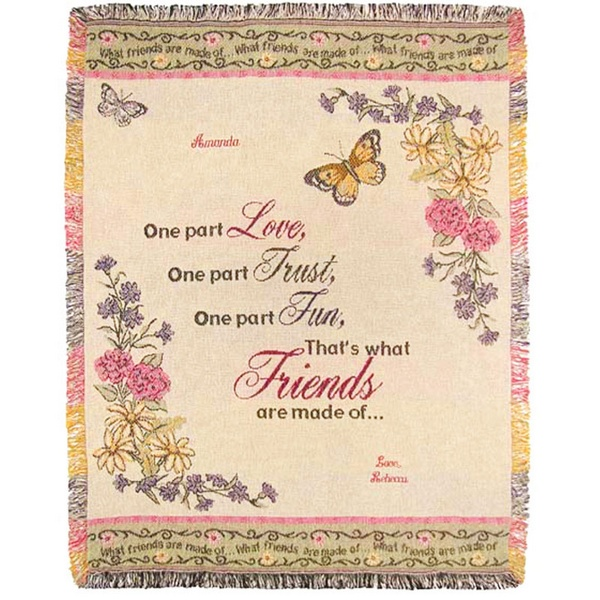 What Friends Are Made Of Personalized Blanket Throw Embroidered Inspiration Personalized Blanket Throws