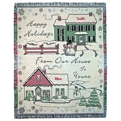 Happy Holidays Houses Personalized Tapestry