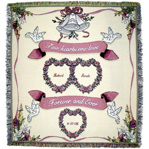 Heart to Heart Tapestry Wedding Throw