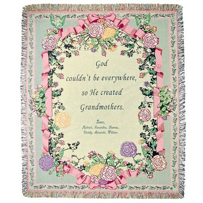 God Created Grandmothers Tapestry Throw
