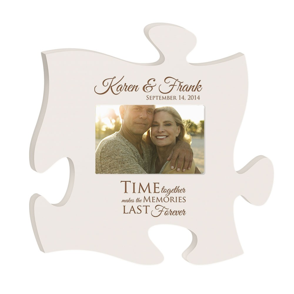 Anniversary Memories Personalized White Wooden Puzzle Piece 4x6 ...