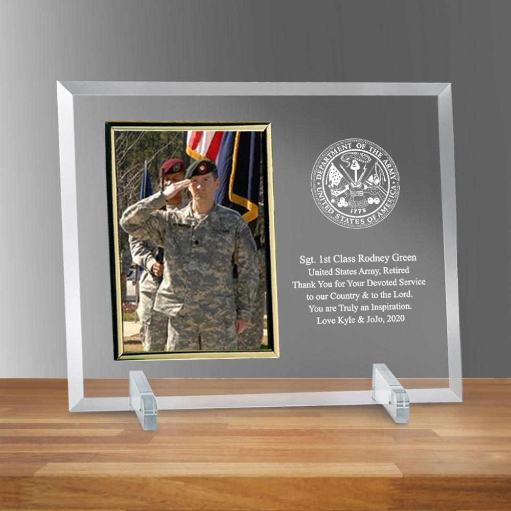 Army Glass Vertical 5 X 7 Personalized Photo Frame