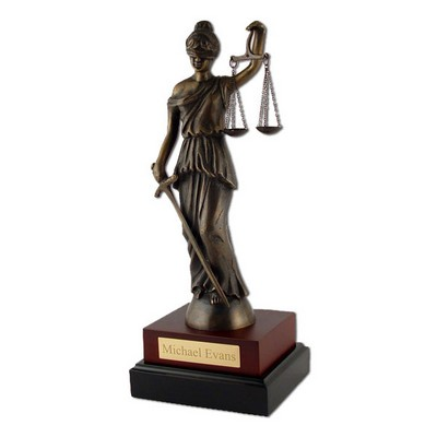 Brass Lady of Justice Sculpture