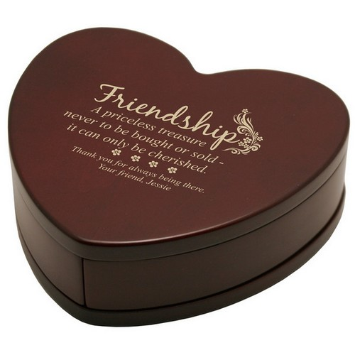Solid Rosewood Heart of Friendship Keepsake Box