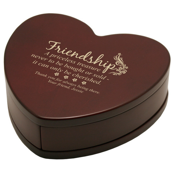 Solid Rosewood Heart Of Friendship Keepsake Box