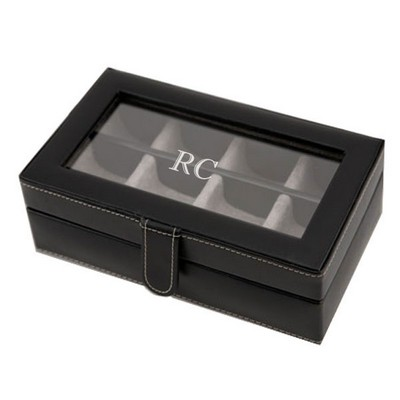 Exquisite Black Leather Cufflink Box