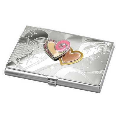 Business Card Holder with Pink Hearts