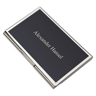 Personalized Metal Business Card Holder with Black Cover