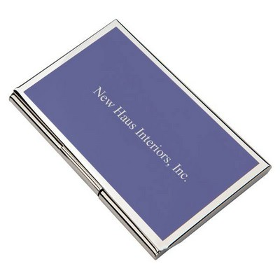 Personalized Metal Business Card Holder with Blue Cover