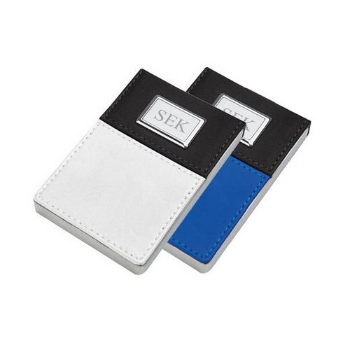 Personalized Faux Leather Business Card Holder in Blue or White