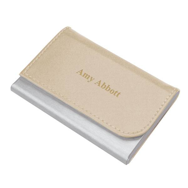 Faux leather business card holder engraved beige business card personalize beige faux leather business card holder colourmoves