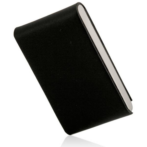Black leather and stainless steel business card holder colourmoves