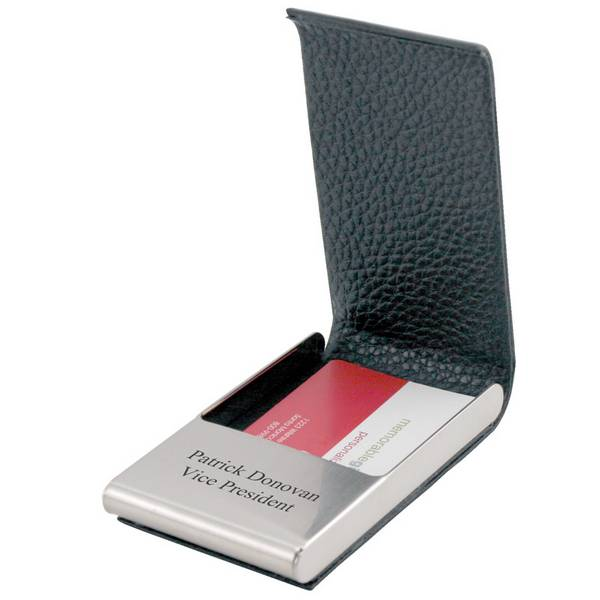 Black leather and stainless steel business card holder for Black business card holder