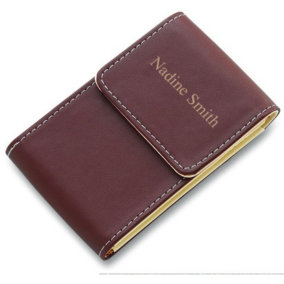 Brown faux leather personalized business card holder for Leather business card holder monogram