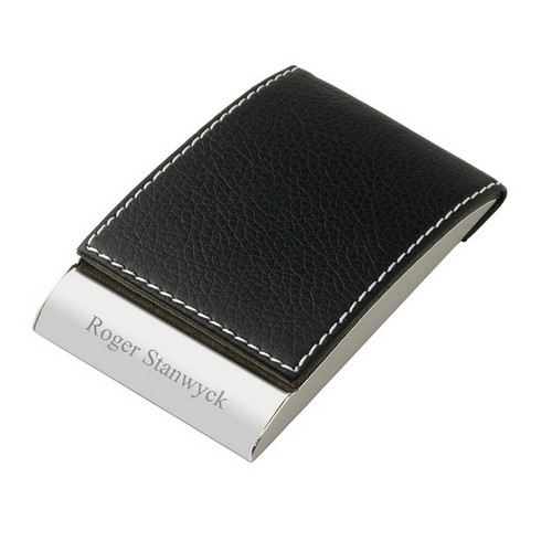 Personalized Leatherette Designer Vertical Business Card Holder in Black Brown Red or Yellow