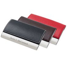 Personalized Designer Leatherette Business Card Holder