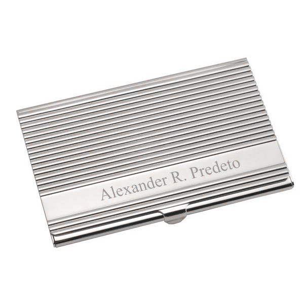Silver modern sophisticate business card holder reheart Gallery