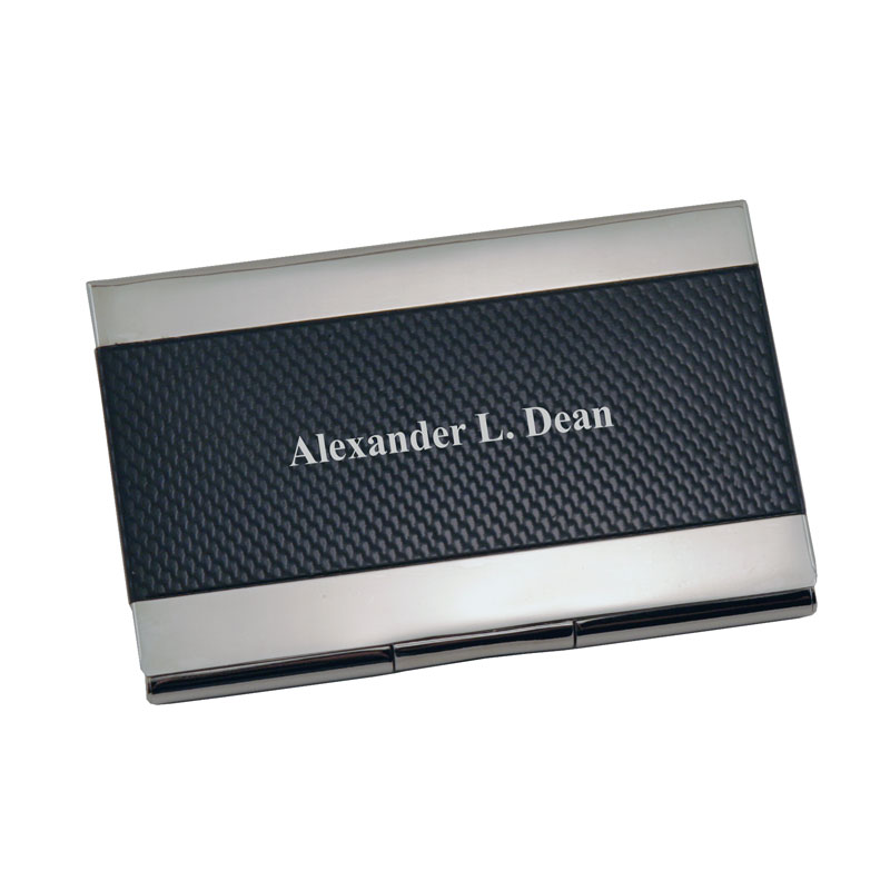Pocket Business Card Holder in Black and Silver