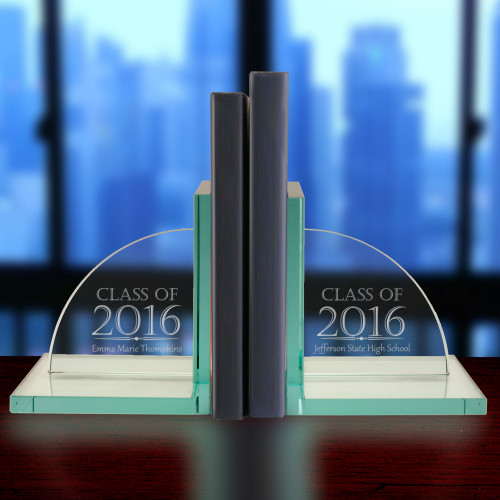 Engraved Jade Glass Graduation Bookends