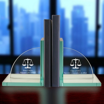 Personalized Jade Glass Legal Scales Bookends
