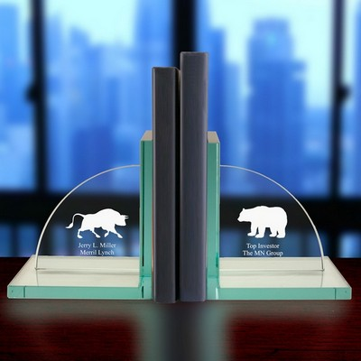 Personalized Jade Glass Stock Market Bull and Bear Bookends