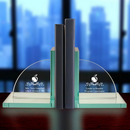 Personalized Jade Glass Teacher Bookends