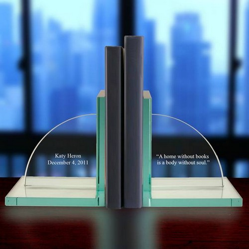 Personalized Jade Glass Bookends