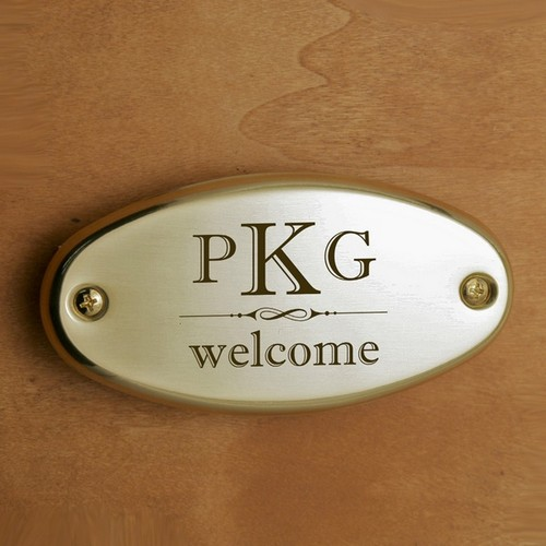 Welcome Monogram Door Plate