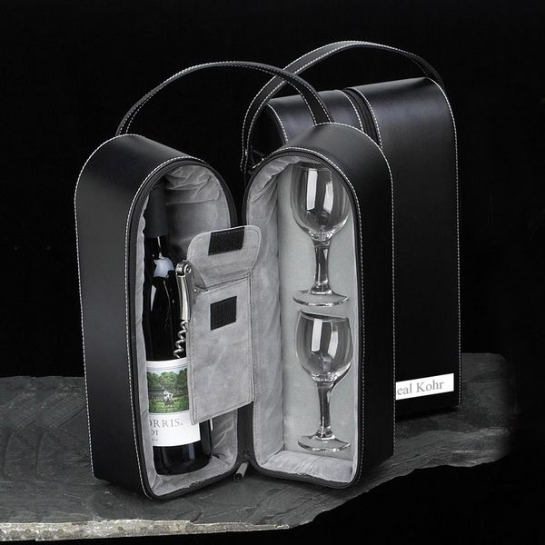 Leather Wine Travel Set