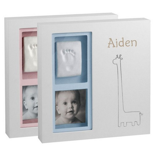Babyprints Giraffe Wall Personalized Frame in Pink and Blue