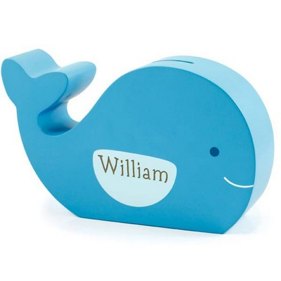 Personalized Wooden Whale Bank