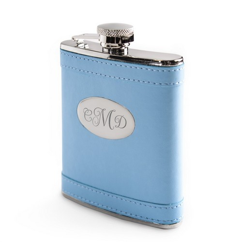 Baby Blue Leatherette Wrapped Stainless Steel Monogrammed Flask