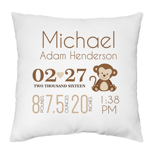 Baby Boy Birth Announcement Personalized Pillow Case