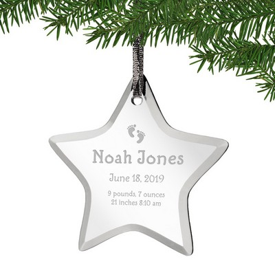 Baby Footprints Personalized Acrylic Star Ornament