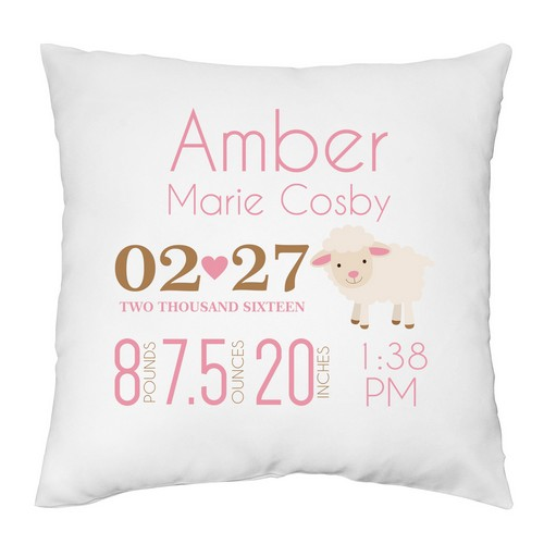 Baby Girl Birth Announcement Personalized Pillow Case