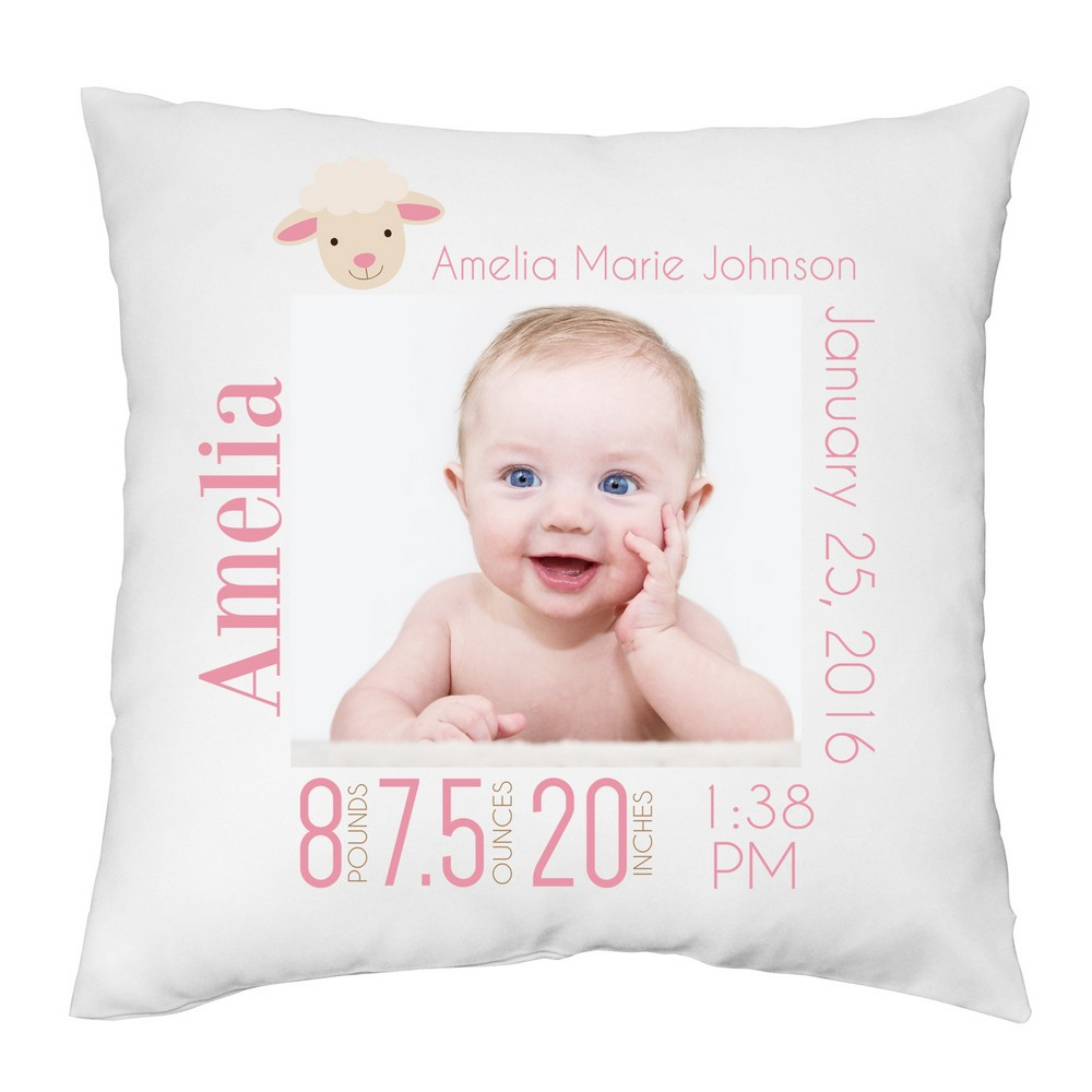 Baby Gift Ideas Under $30 : Baby girl personalized photo keepsake pillow case