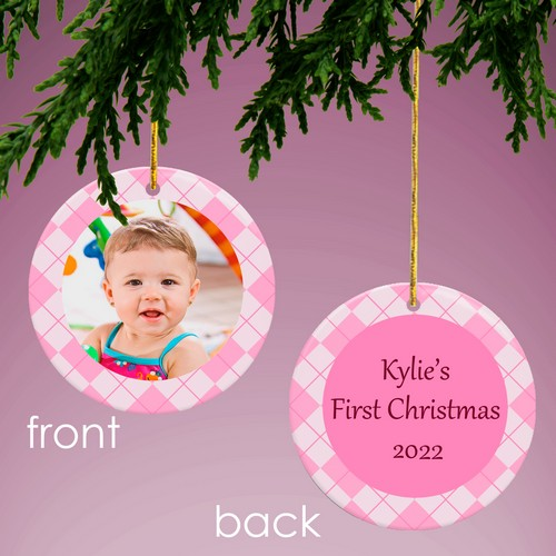 Baby Pink Personalized Photo Ornament