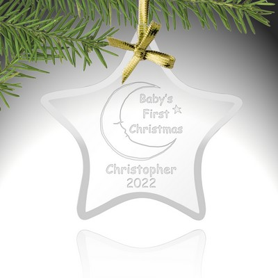 Babys First Christmas Glass Star Ornament