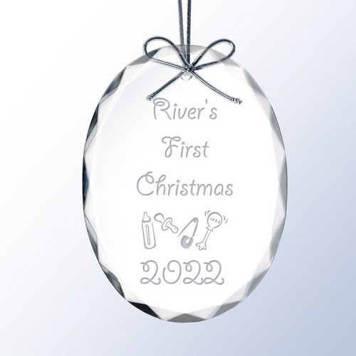 Babys First Christmas Personalized Crystal Christmas Ornament